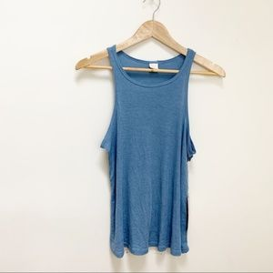 SUN & SHADOW distressed light blue ribbed tank M